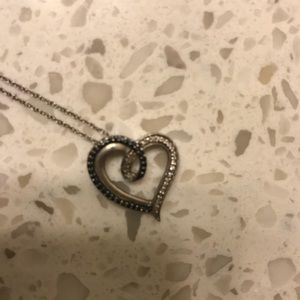 Navy Blue Heart Diamond Necklace